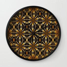Floral motive gold Wall Clock