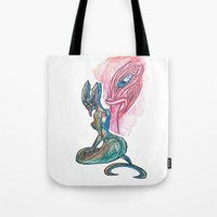 lannister Tote Bags featuring Sea Taniwha by Ariel Ni-Wei Huang