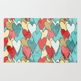 Grunge Pattern With Hearts Rug