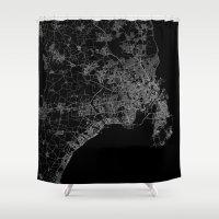 copenhagen Shower Curtains featuring Copenhagen by Line Line Lines
