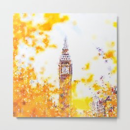 Big Ben in London with Colorful Yellow Autumn Fall Trees Watercolor and Ink Painting Print Metal Print