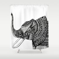allison argent Shower Curtains featuring Allison Elephant Black and White by Laura Maxwell