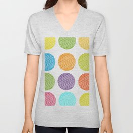 rainbow color Polka dot background. scribble dot on white Unisex V-Neck
