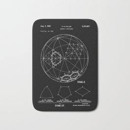Buckminster Fuller 1961 Geodesic Structures Patent - White on Black Bath Mat