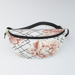 Rose Garden Vintage Rose Pink Cream White Mod Diamond Lattice Fanny Pack