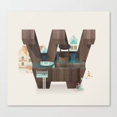 Resort Type - Letter W Canvas Print