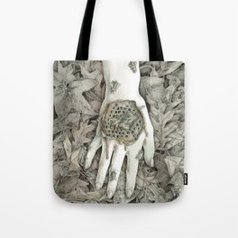 Hand and Honeycomb Tote Bag