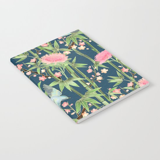 Bamboo, Birds and Blossom - dark teal Notebook