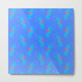 Blue Seahorse Pattern Metal Print