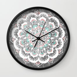Pastel Floral Medallion on Faded Silver Wood Wall Clock
