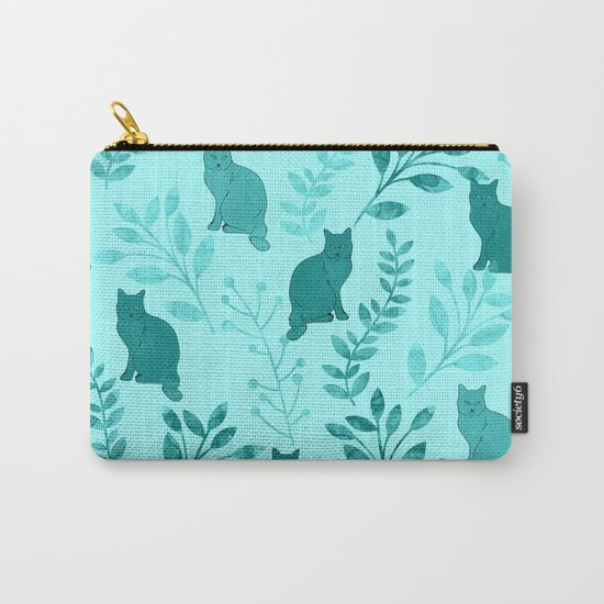 Watercolor Floral and Cat VIII Carry-All Pouch
