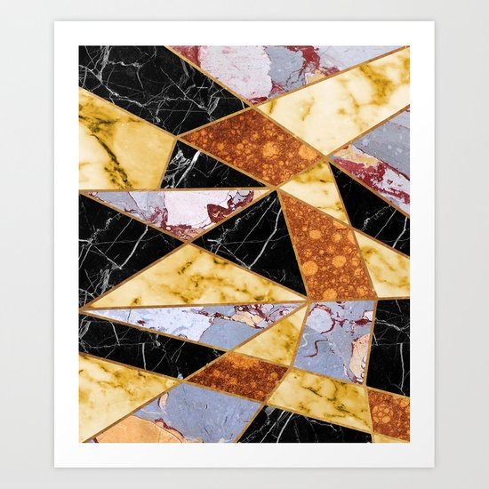 Abstract #458 Molten Metal & Marble Art Print