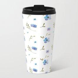 Blue watercolor flowers #2 Metal Travel Mug