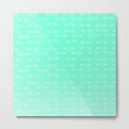 Pastel Green Feather Pattern Metal Print