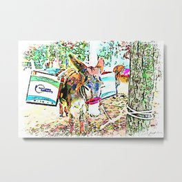 Donkey with boxes tied to a tree Metal Print