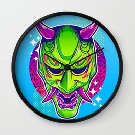 Neon Noh - Hannya Wall Clock