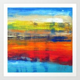 Horizon Blue Orange Red Abstract Art Art Print