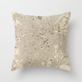 Vintage Map of Sheffield England (1851) Throw Pillow
