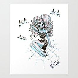 Vampire Glamour Doll Sitting on a Spider Web Art Print