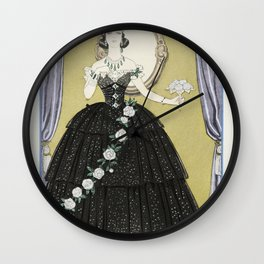 La Fontaine de coquillages Robe du soir de Paquin (1914) fashion  in high resolution by George Barbi Wall Clock