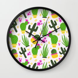 Cactus Pattern of Succulents Wall Clock