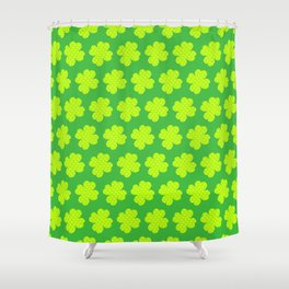 St. Patrick's Day Neon Green Shamrock Pattern Shower Curtain