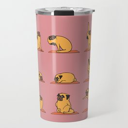 Pug Yoga In Pink Travel Mug