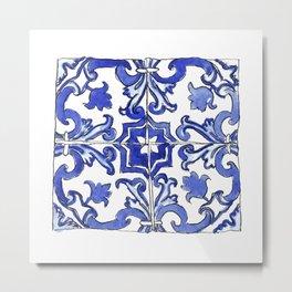 Blue and White Portuguese tile Metal Print