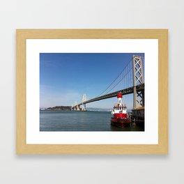 SF Bay Bridge Fire Boat Framed Art Print
