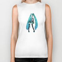 vocaloid Biker Tanks featuring Miku by Sally Taylor