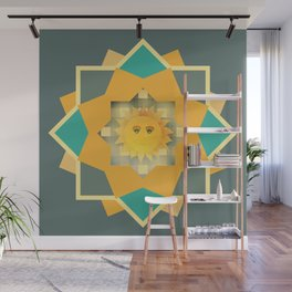 Happy Sun on Plaid Wall Mural