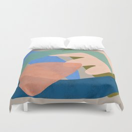 Shapes and Layers no.30 - Large Organic Shapes Blue Pink Green Gray Duvet Cover