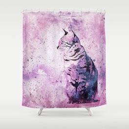 Pink Watercolor Cat Painting Shower Curtain