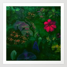 Gathering of Flowers - [Green Version] Art Print