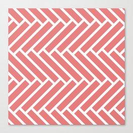 Coral and white herringbone pattern Canvas Print