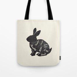 Rabbit Butcher Diagram Tote Bag