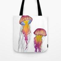 swim Tote Bags featuring Swim  by Hedda Hultman