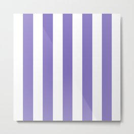 Ube violet - solid color - white vertical lines pattern Metal Print
