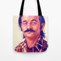 bill Tote Bags featuring Young Mr. Bill Murray by Thubakabra