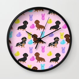 Dachshund dog breed peeps marshmallow treat easter spring doxie lover Wall Clock