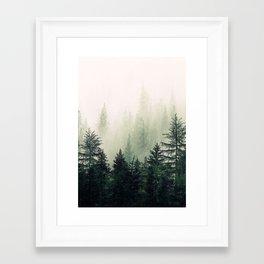 Foggy Pine Trees Framed Art Print