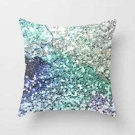 Glitter Sparkling Blue Green Turquoise Teal Patterns Throw Pillow
