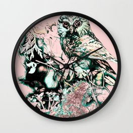 Spring owl on a pink background Wall Clock