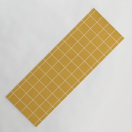 Small Grid Pattern - Mustard Yellow Yoga Mat