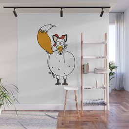Eglantine la poule (the hen) dressed up as a fox. Wall Mural