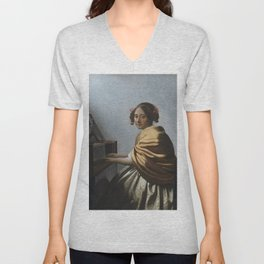 "Johannes Vermeer ""A Young Woman Seated at the Virginal"" Unisex V-Neck"