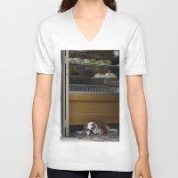 english bulldog V-neck T-shirts featuring English Bulldog by sovichka