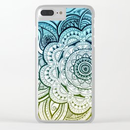 Mandala Blue Yellow Clear iPhone Case