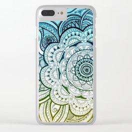 Mandala Blue Yellow Clear iPhone Case