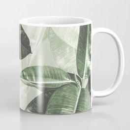 Tropical Leaves Dark Green Pattern Coffee Mug